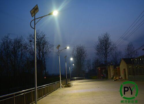 高阳6米30瓦太阳能路灯夜晚照明亮